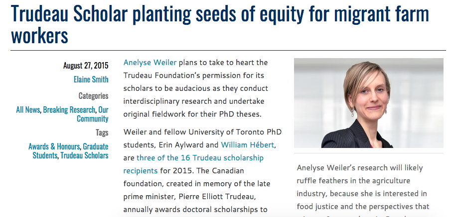 2015 interview with Elaine Smith at UofT Arts & Sci on Trudeau Scholarship and research.