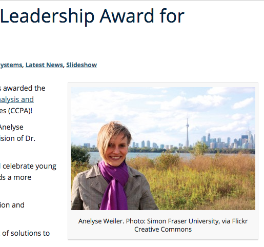 UBC LFS post for 2016 Power of Youth Leadership Award from the Canadian Centre for Policy Alternatives.