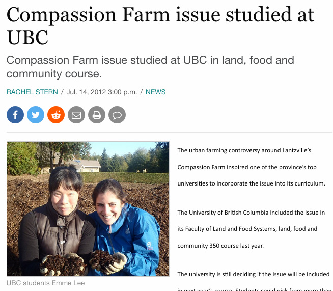 2012 interview with Rachel Stern on a community-based research project I helped coordinate with UBC students and an urban farm.