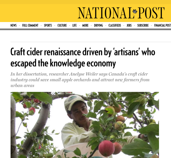 Interview in 2019 National Post story by Jacob Dubé on craft cider research.