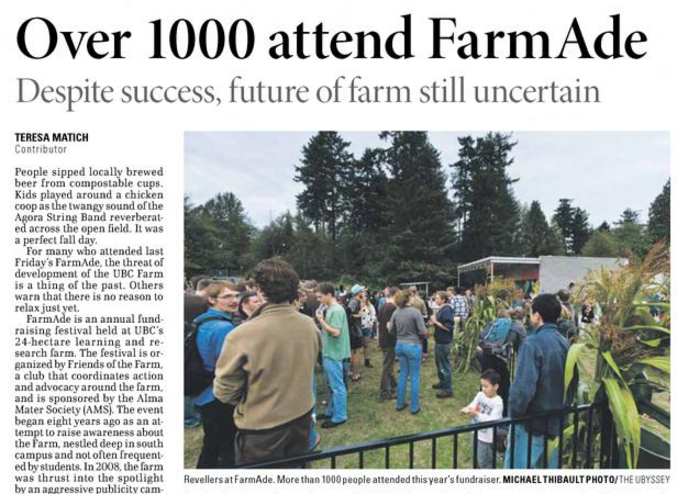Interview in 2010 Ubyssey article with Teresa Match about FarmAde and UBC Farm land security.