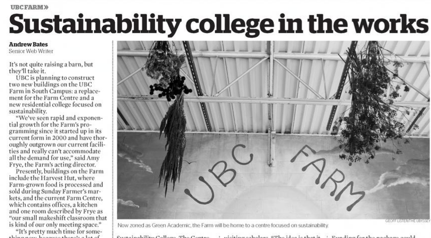 Interview in 2012 Ubyssey article with Andrew Bates on UBC Farm and Sustainability College.