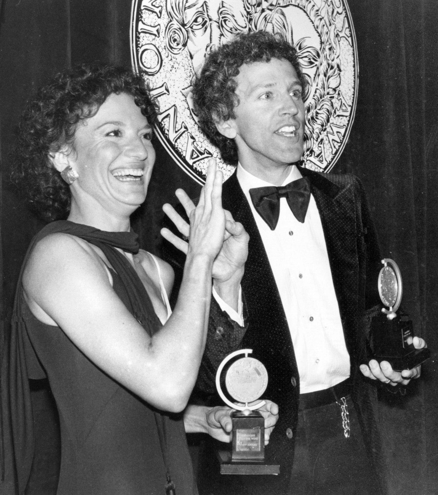 Phyllis Frelich and John Rubenstein celebrate the Tony Award for Children of a Lesser God