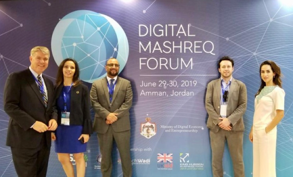 The team and partners attend the Digital Mashreq Forum, where panelists discussed the unique opportunities that digital transformation can provide to sustainable economic growth and inclusive economies in the Mashreq region. From left to right: John Morris, CEO, 17AM; Layla Al-Qasim, Head of Strategic Engagement and Sustainability Projects, Landmark Hotels Company; Nowar Shahrouri, CFO at Innovation Startups and SMEs Fund; Jamil Wyne, Head of Asset Management, 17AM; Mary Nazzal-Batayneh, Jordan Country Head, 17AM.