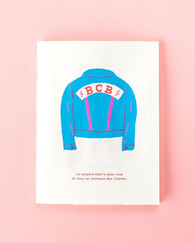 @pnriou et moi avons sérigraphié un petit zine d'une dizaine de page pour @bonnechancebaby , 3 couleurs relié à la main. - @pnriou and I screen printed a little zine for @bonnechancebaby , 3 colors and bound by hand. - #jeancoat #coats #screenprinting #zine #bonnechancebaby