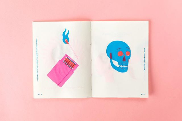 Un autre spread du mini zine Hors Série de @bonnechancebaby - Another spread from the mini zine « Hors Série » by @bonnechancebaby - #zine #skull #matchbox #fire #matches #design #colorpop
