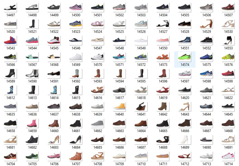 Figure 2: Sample of the >25,000 shoe images that have a white background and a side view with the toe pointing towards the left.