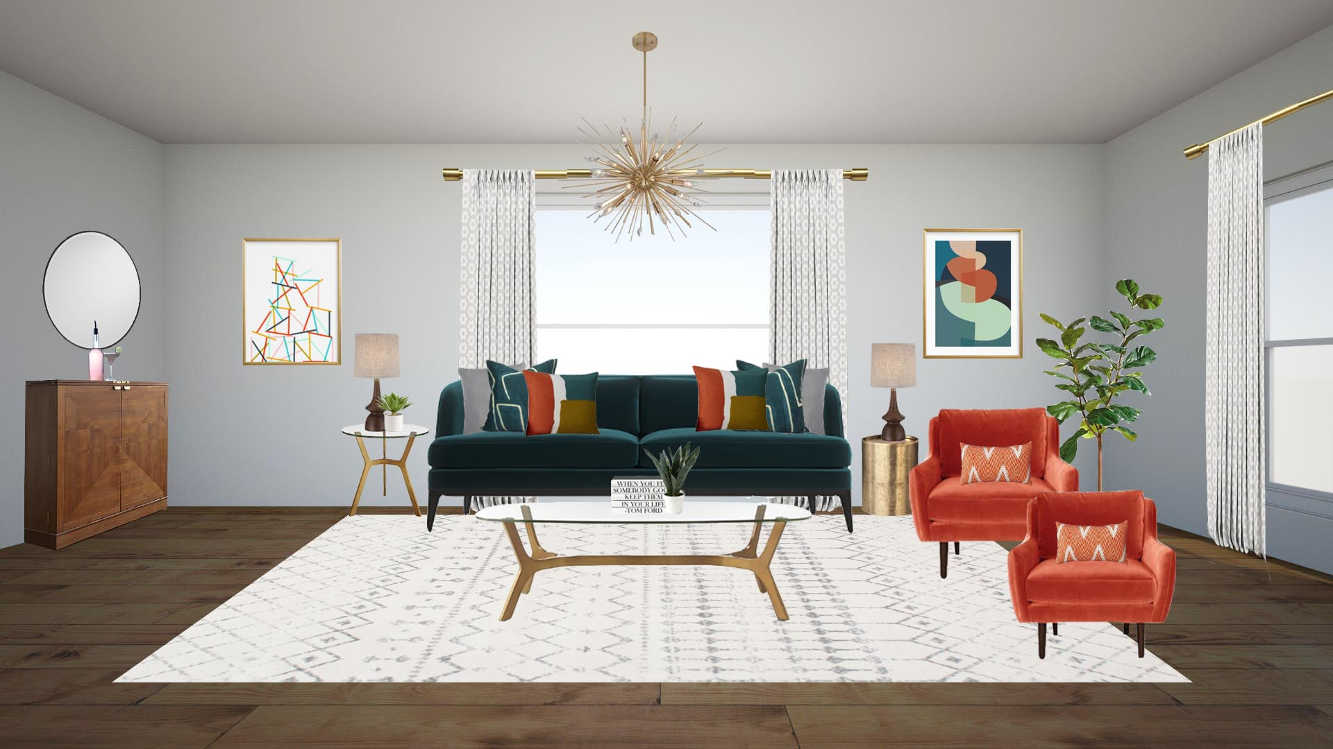 "SETUP INSTRUCTIONS:    -Lay down your rug as shown in floor plan  -Place your large items where they go according to your floorplan. Sofa, chairs, coffee table, bar cabinet, and console table.  -Now place your smaller items. End tables, accessories, lamps.  -Now it's time to hang lighting, draperies, and artwork.  LAMPS: Left table//Place lamp in center of the table. Layer plant in front and over a couple inches to the right. These items should touch.  PILLOWS: Start by placing the largest pillows on the outside and layering in as they get smaller. This should work out just like your rendering shows. For the orange lumbar pillows, center them on the orange velvet chairs.  COFFEE TABLE: Place a stack of 5 to 6 books on the coffee table and 4-6"" to the right place the snake plant. You could also set a wood or gold tray that you could set these items in.  ARTWORK: Typically you want to center the artwork between the ceiling and the floor. Make sure not to hang too high as this will throw off the balance of the room. Center each piece on its specified art wall. See below  SPECIFICS FOR ARTWORK: Bottom of the artwork should be 3 feet from the floor and outside (opposite of window) of artwork should be about 2' from the wall.  DRAPERIES: Detailed instructions under draperies on shopping list :)"