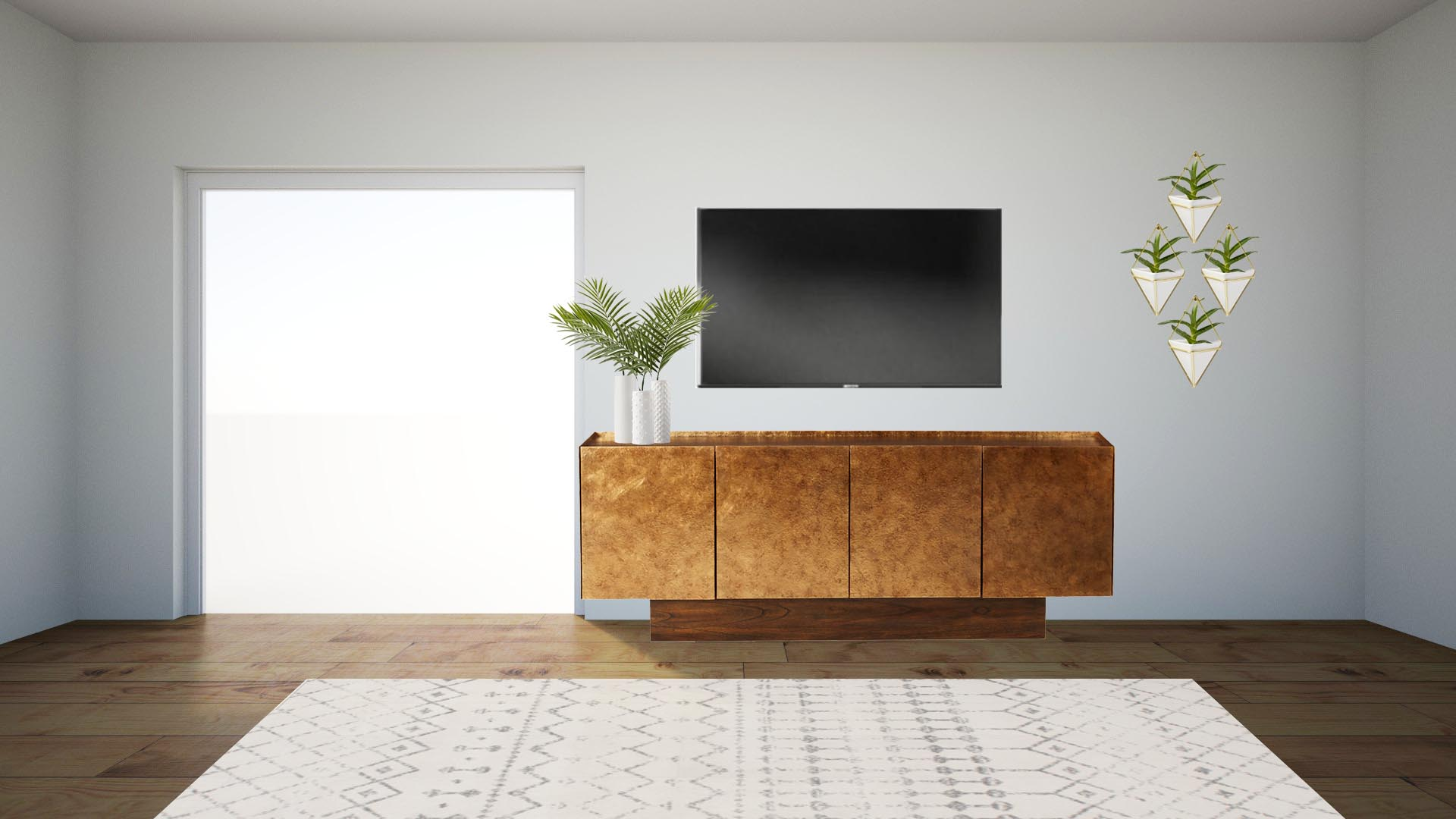 """SETUP INSTRUCTIONS:  Place gold cabinet as shown in floor plan  VASES: Layer with largest in the back left, smallest in the middle, and medium sized to the right. There will probably be 1 or 2"""" in between each one. Place a faux palm leaf in each vase.  TV: Mount  WALL DECOR: Order 2 sets (see shopping list below) of planters and hang in a diamond pattern. Hang the top one about 6"""" above tv height and layer the others below with about 6-8"""" between each. Let me know if you need help with this. I'm happy to draw a little diagram."""