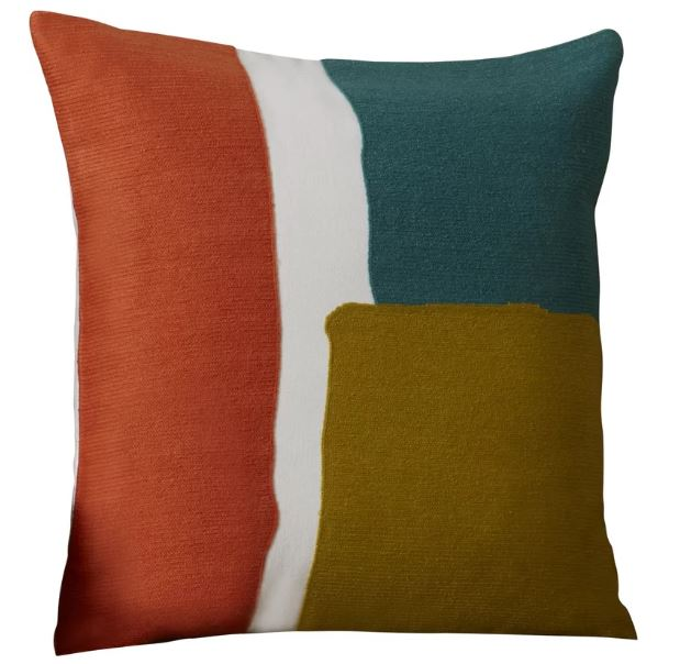 """QUANTITY: 2  COLOR: TEAL/GOLD/CORAL/WHITE  SIZE: 18"""" X 18"""""""