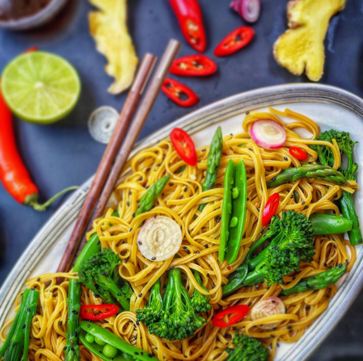Green Veggie Asian Noodle Salad