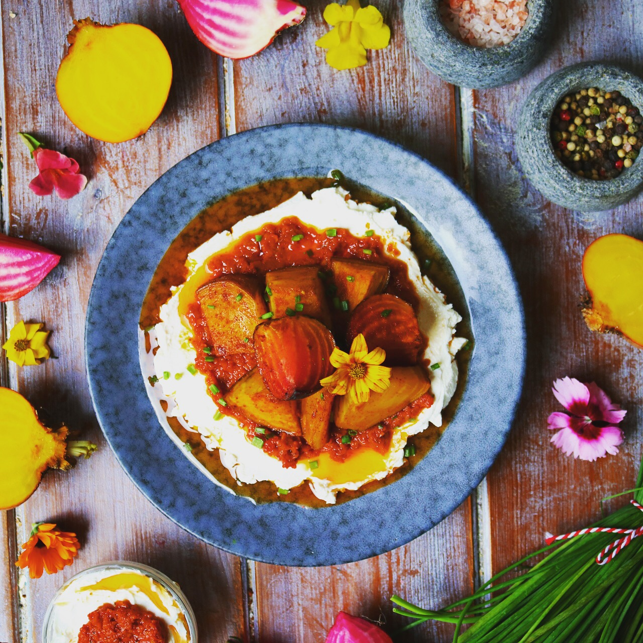 Smokey Beetroot with Harissa Labneh