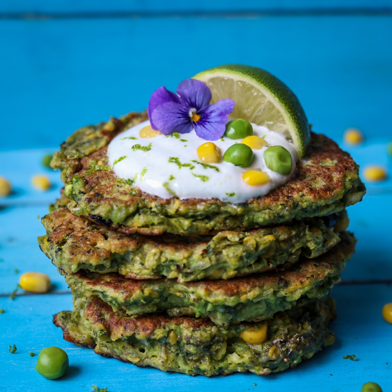 Pea, Sweetcorn & Kale Fritters
