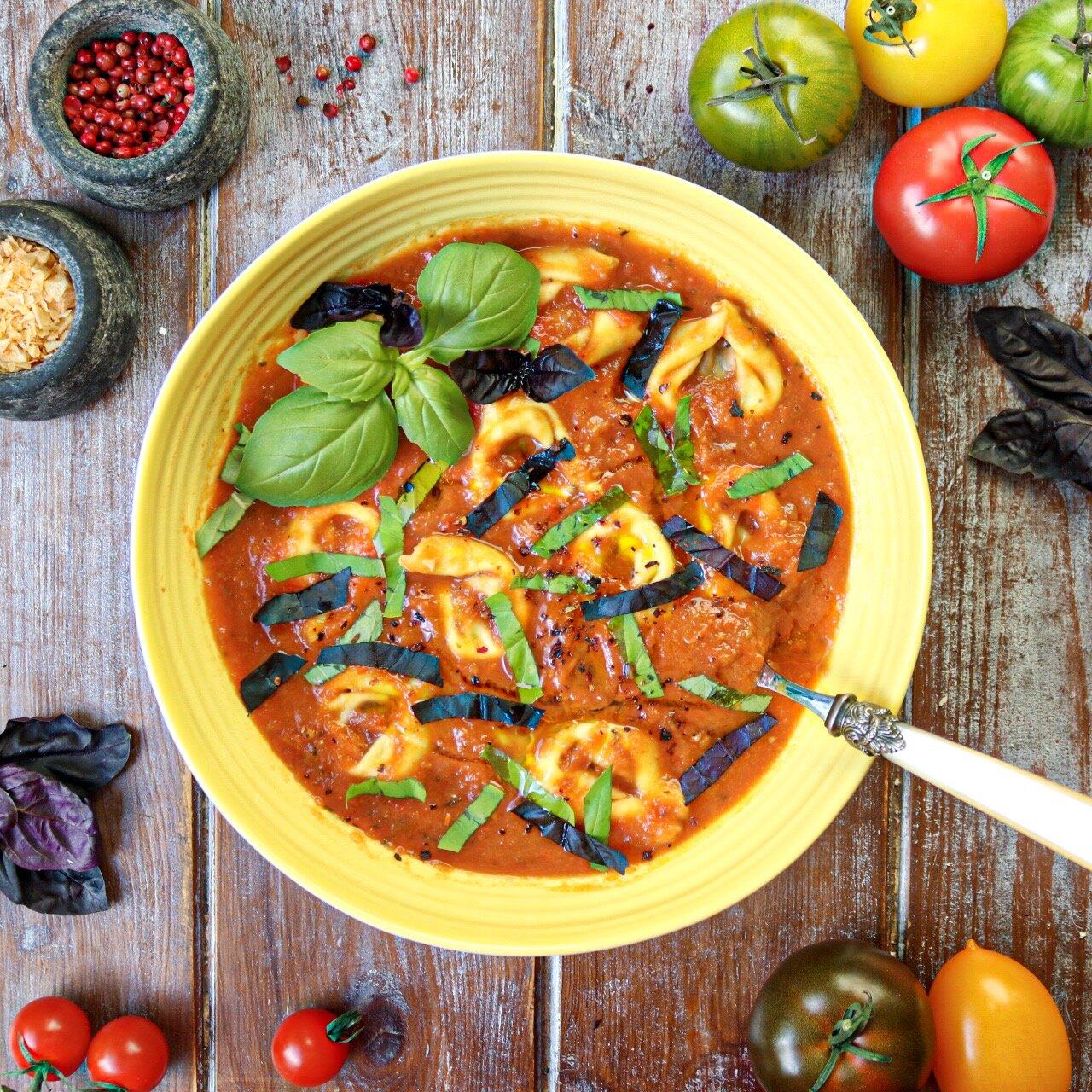 'Cream' of Tomato Tortellini Soup.