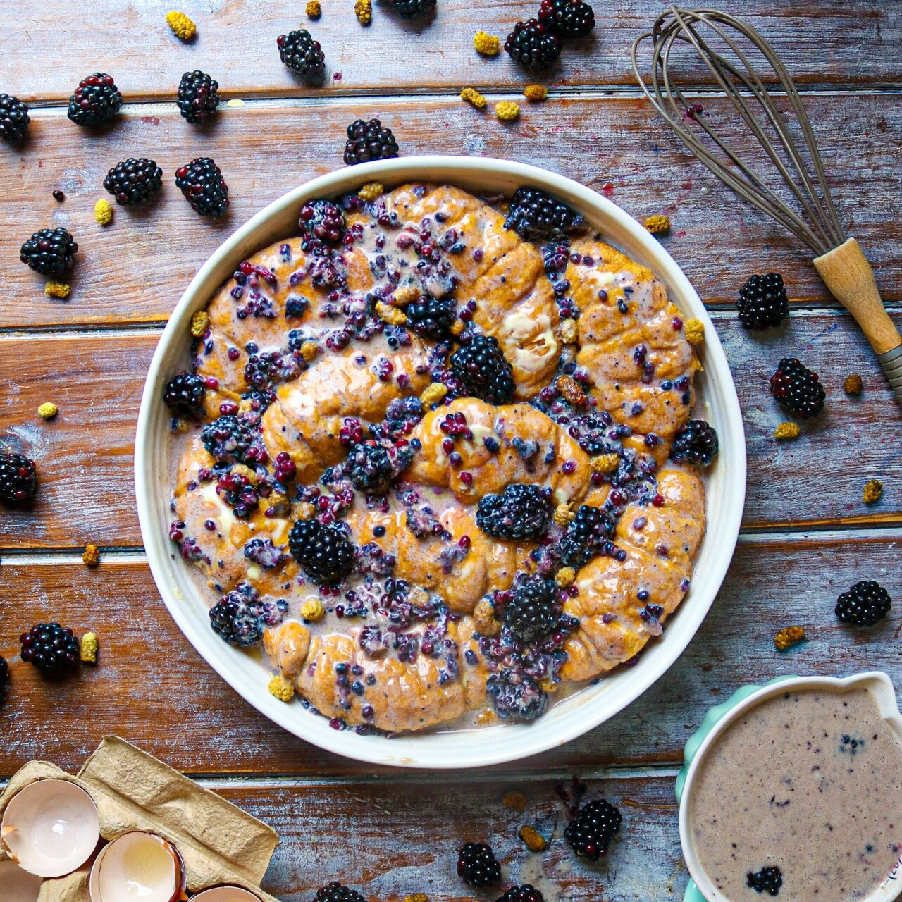 Healthy Blackberry Bread & Butter Pudding