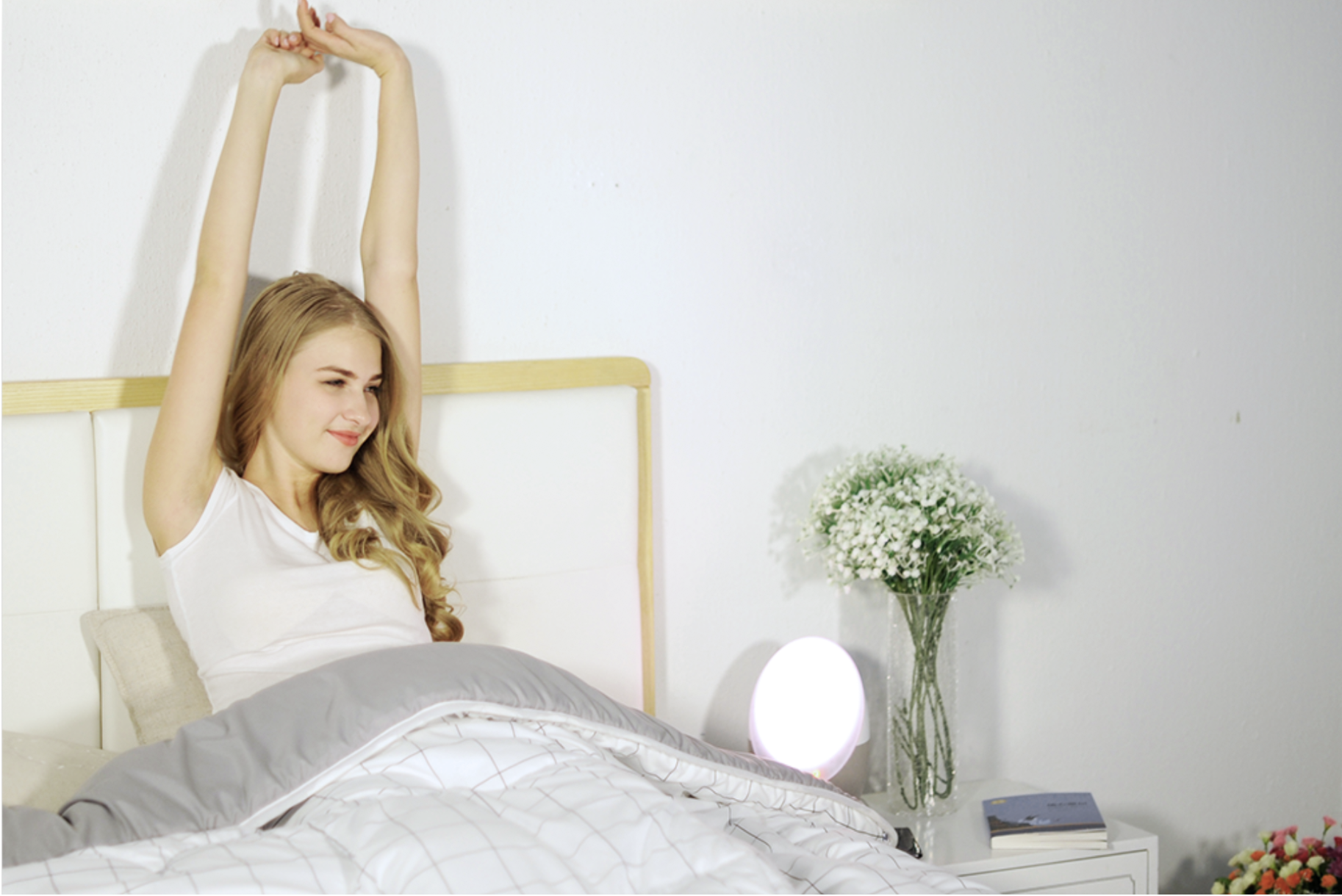 7:30 AM - Calm ambient music starts to play and volume up during your last lightest sleep cycle so you will wake up feeling refresh and fully recharged.