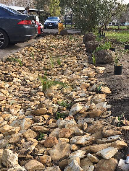 Image: Elwood College ran a whole street clean to raise funds and install a swale raingarden that will filter pollutants before flowing into Elster Creek.
