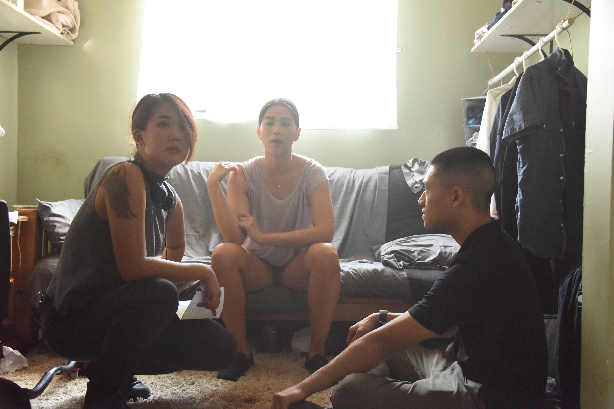Director  Angela Chen  rehearse the altercation scene with actors  Dianne Doan  and  Brandon Soo Hoo .