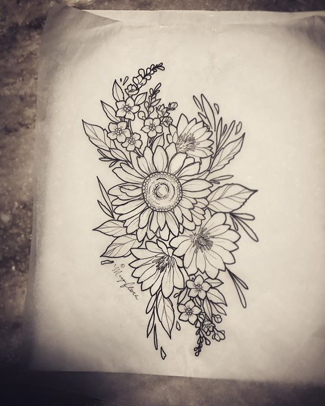 Got started on this darling floral piece for @jenessabrooke ! 💕 Sunflower , Bitterroot (Montanas state flower) & Forget Me Nots for AK 🍄🌹😍 so much fun! 🌿#bitterroottattoo #forgetmenottattoo #sundlowertattoo #floraltattoo #alaskaink #alaskatattoos #pnwart #alaska #pnw #alaskanartist #femaletattooer #neotraditionaltattoo #tongassnationalrainforest #cheyennepen #cheyennecartridges #stencilstuff #eternalink #eternaltattoosupply #ketchikan #alaska #ketchikanarts #artofmeganflora #alaskaart #ketchikanalaska