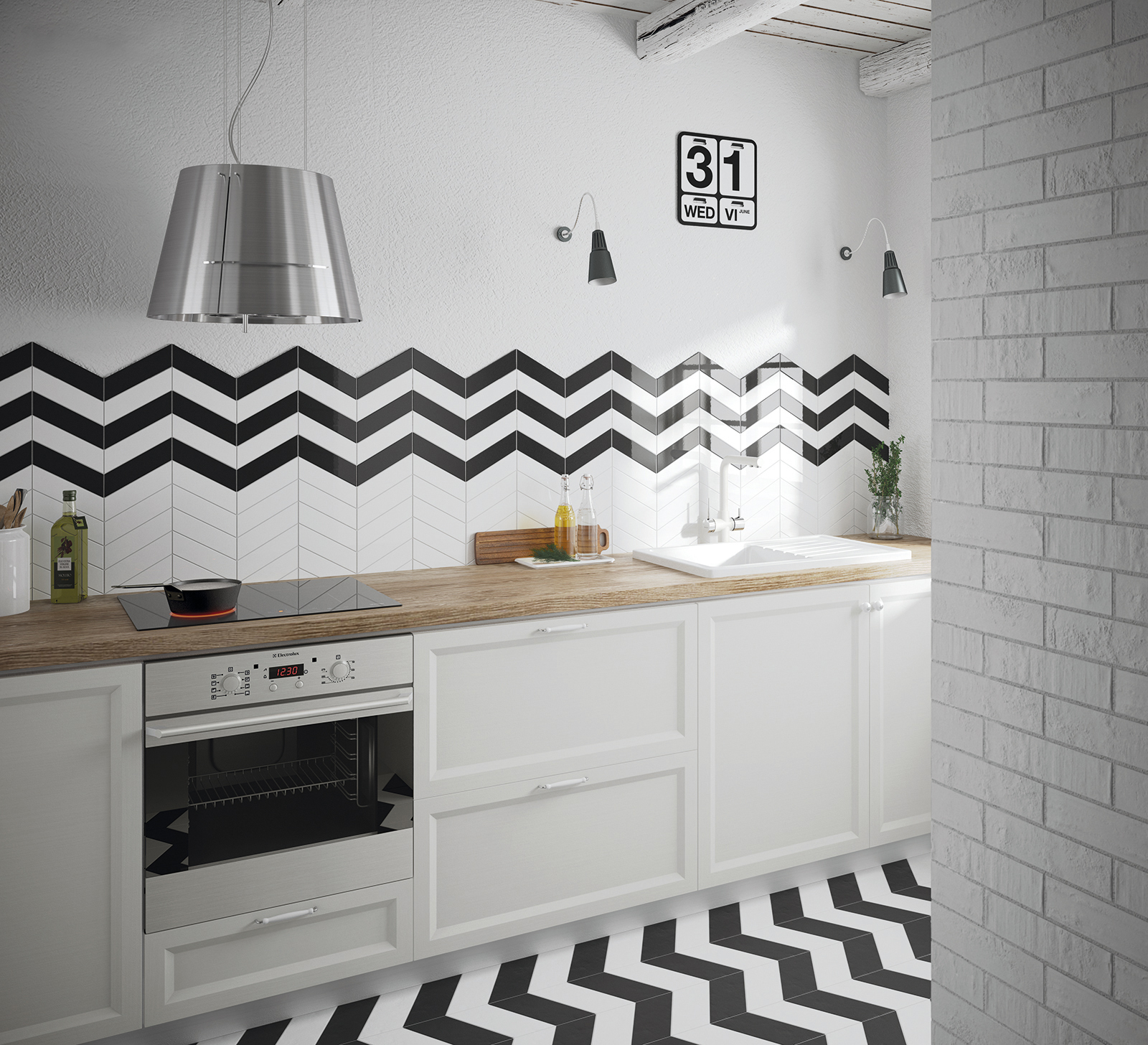 Chevron Wall White & Black 5.2x18.6 cm