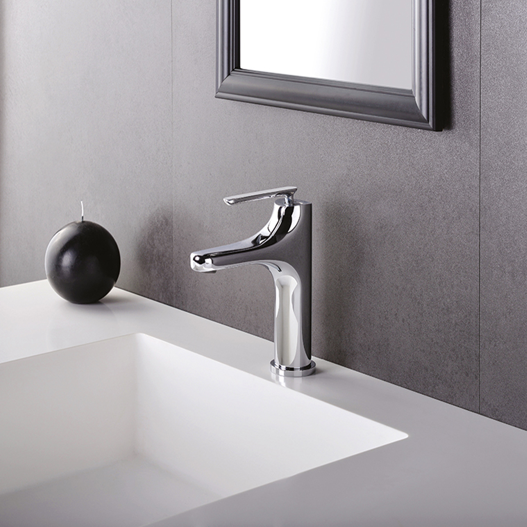 "BE 22051  Available in Chrome color. Accepts indent orders for other colors.  Basin mixer with 1""1/4 Up & Down waste"
