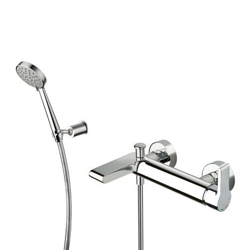 DE 18151  Available in Chrome color. Accepts indent orders for other colors.  External bath mixer with LONG LIFE flexible hose and adjustable anti-lime comfort hand shower