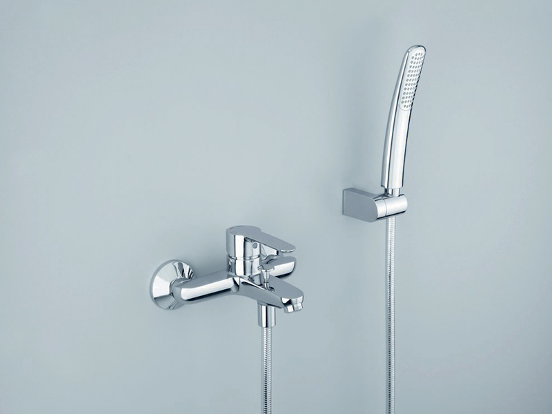 ND 10051  Available in Chrome color. Accepts indent orders for other colors.  External bath mixer with LONG LIFE flexible hose and anti-lime hand shower