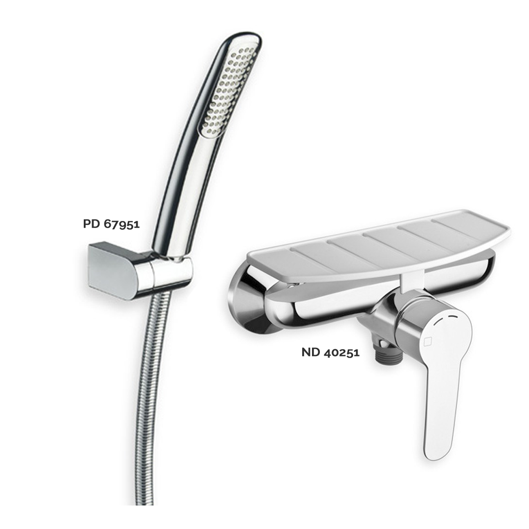 ND 40251 Available in Chrome color. Accepts indent orders for other colors. External shower mixer with soap holder  PD 67951 Available in Chrome color. Accepts indent orders for other colors. Adjustable hand shower holder with anti-lime hand shower and LONG LIFE flexible hose