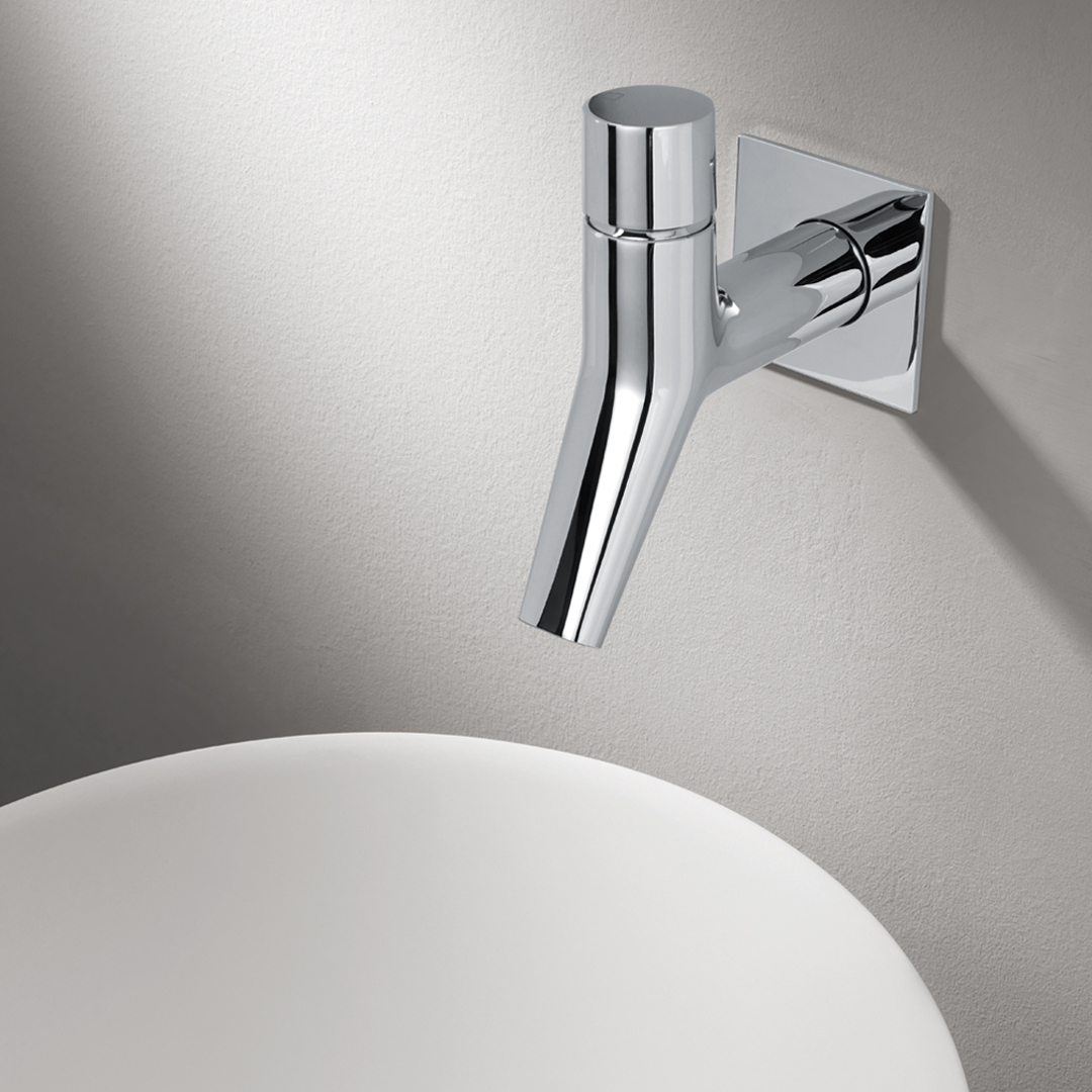 "RU 23351  Available in Chrome color. Accepts indent orders for other colors.  Complete wall mounted basin mixer with 1""1/4 Up & Down waste"