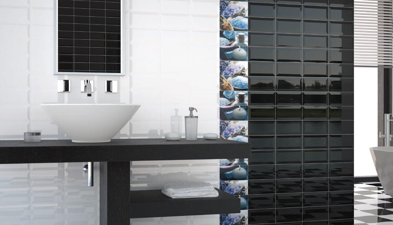 Biselado Blanco Brillo/Negro Brillo 7.5x15 cm