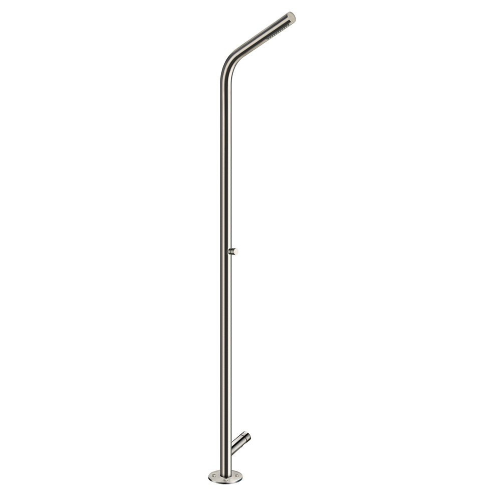 WX 515  Outdoor/indoor floor mounted shower column with one-water self-closing tap, feet washer self-closing jet, ground fixing and water supply system, and antifreeze emptying water system