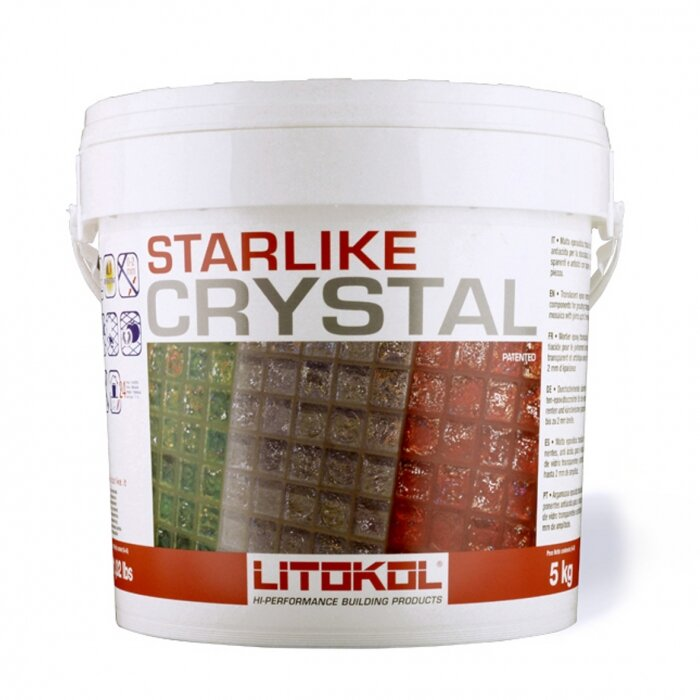 Litokol - A single translucent grout for ALL transparent and colored glass mosaics- two-component acid-resistant translucent epoxy grout for clear and artistic glass mosaics with joints up to 2 mm wideCOLOR: Crystal C.350 | WEIGHT: 2.5 kg