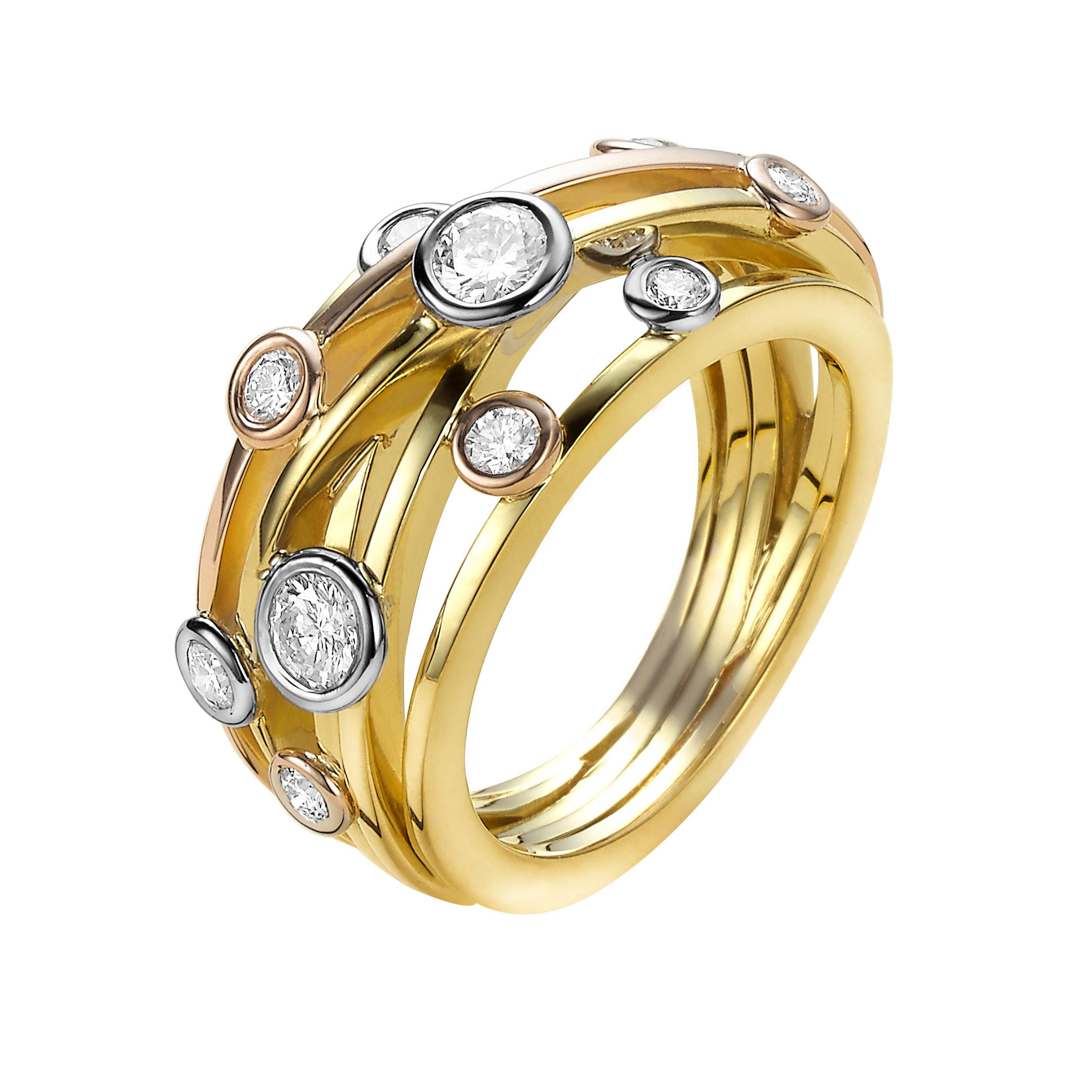 L'Or - Depuis sa découverte, l'or captive l'imagination de l'homme. C'est l'un des métaux les plus rares sur terre. Grâce à sa brillance particulière et à sa résistance totale à la rouille, il est utilisé depuis le début de la civilisation pour réaliser des bijoux.L'or pur est un métal très mou. Un gramme d'or peut être laminé en une plaque d'une superficie d'un mètre carré. Pour pouvoir utiliser l'or en bijouterie, il faut d'abord le durcir. Un alliage avec un autre métal comme l'argent, le cuivre ou le palladium permet d'y parvenir. Les métaux utilisés dans cet alliage définissent également la couleur de l'or. Les couleurs les plus courantes pour les bijoux sont le jaune, le blanc et le rose.L'or blanc non travaillé a une apparence légèrement jaunâtre. C'est pourquoi les bijoux en or blanc sont revêtus d'une couche de rhodium, un métal très dur de couleur blanche brillante.Le degré de pureté de l'or est indiqué en carat (à ne pas confondre avec le carat des pierres précieuses). 24 carats désignent l'or pur, 22 carat l'or pur à 91,6 %, 18 l'or pur à 75 % et l'or 14 carats présentent une teneur en or de 58,5 %. L'or 18 carats est de loin le plus approprié en bijouterie. C'est pourquoi, chez Van der Veken Juweliers, nous n'utilisons que l'or 18 carats.