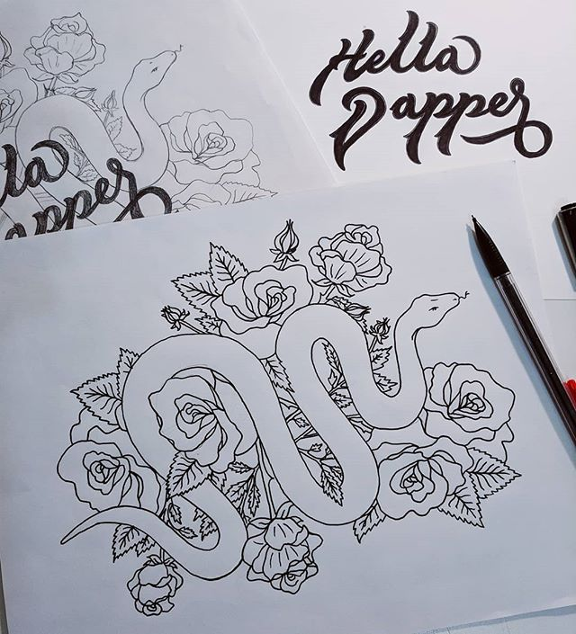 Little typework & illustration for @helladapper 's Cafe Racer 🐍🌹 Can't wait to see this come to life 😈
