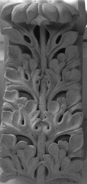 Acanthus leaf carved in Portland Stone