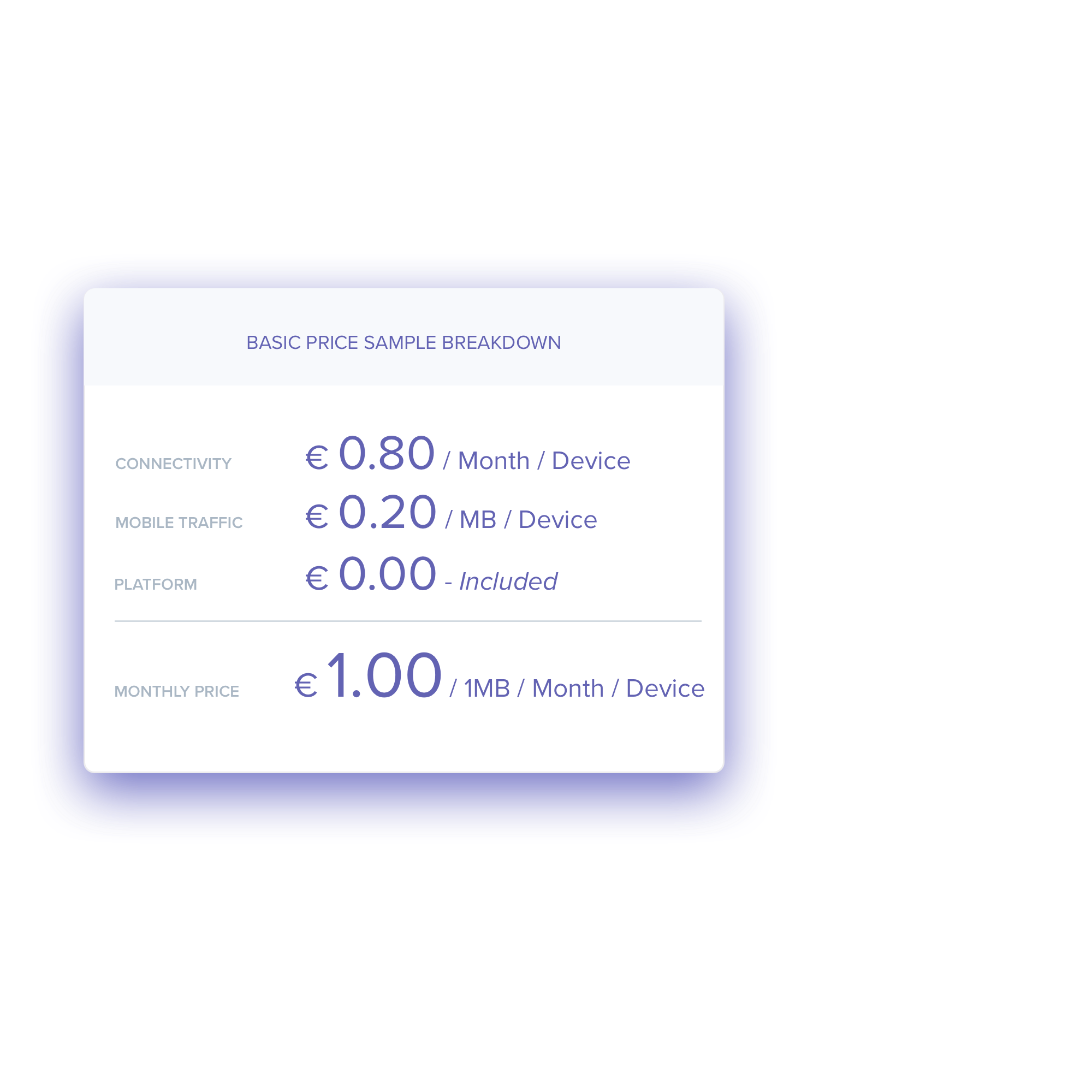 Price Sample - As a rule of thumb, our prices are:✔Connectivity €0.80 / month / device✔Data on mobile network €0.20 / MB✔Prices valid for Standard Price Zone✔ Platform cost includedThese prices are valid in the EU and standard price countries and based on small volumes.For higher volume orders, the pricing will reduce.We always offer competitive pricing!