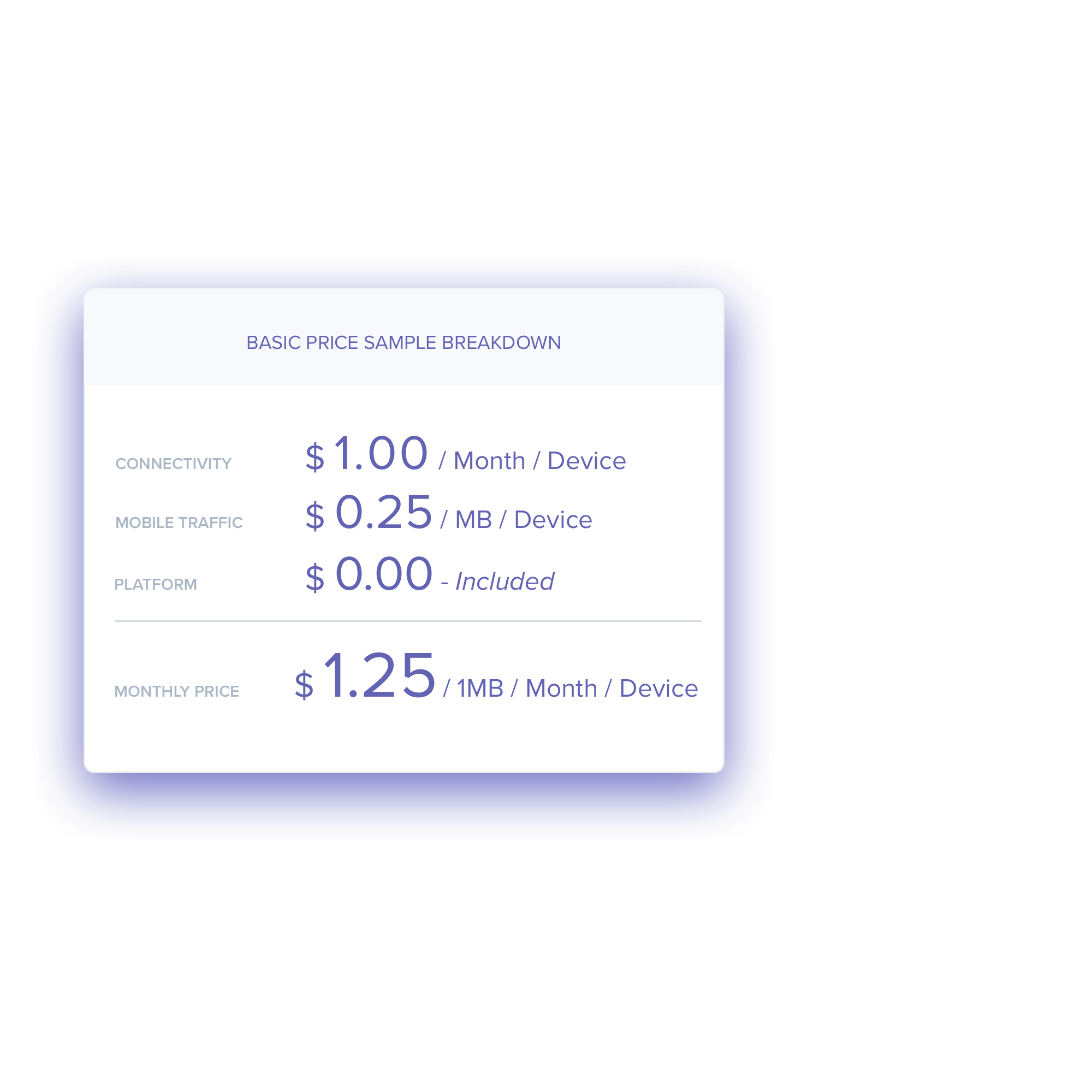 Price sample - As a rule of thumb, our prices are:✔Connectivity $1.00 / month / device✔Data on mobile network $0.25 / MB✔Prices valid for Standard Price Zone✔ Platform cost includedThese prices are valid in standard price countries outside of Europe and based on small volumes.For higher volume orders, the pricing will reduce.We always offer competitive pricing!