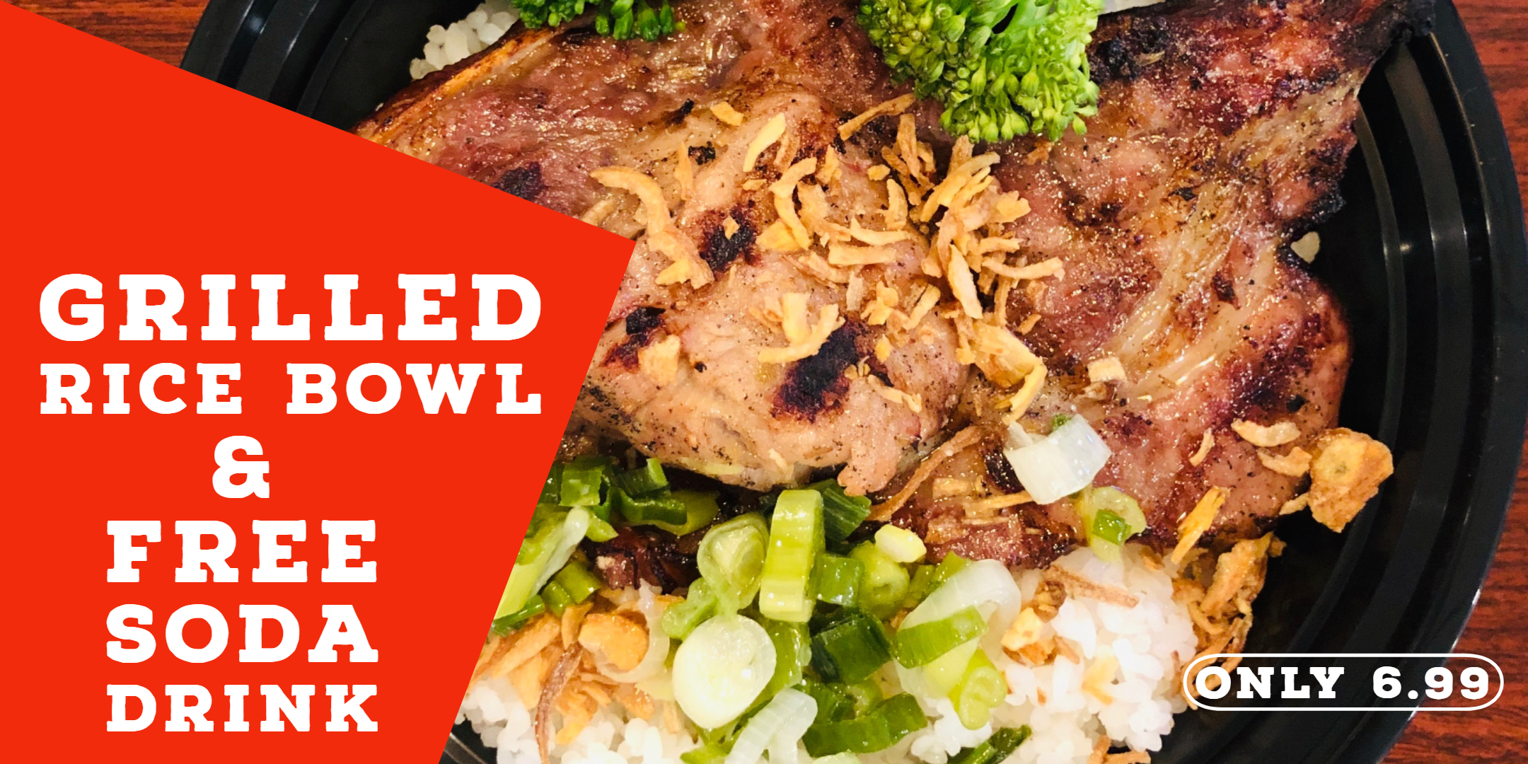 FREE SODA DRINK IN MAY-2019 - Ask us for a free soda drink (refill) when you try our new rice bowl grilled meat in May-2019.