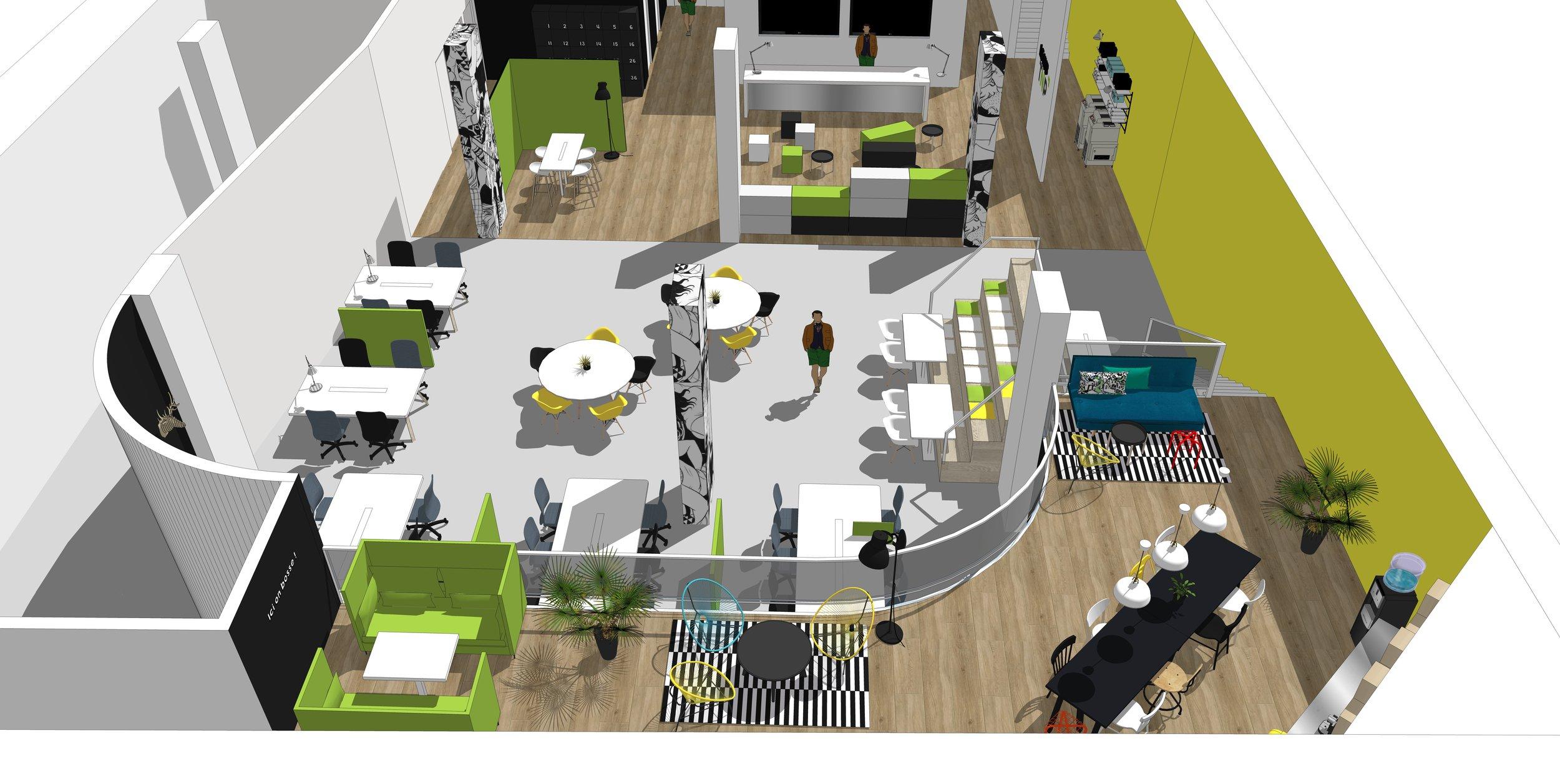 Gate 31 panorama de l'espace de co-construction, TNP Hub, espace d'accueil, et la tribune d'honneur
