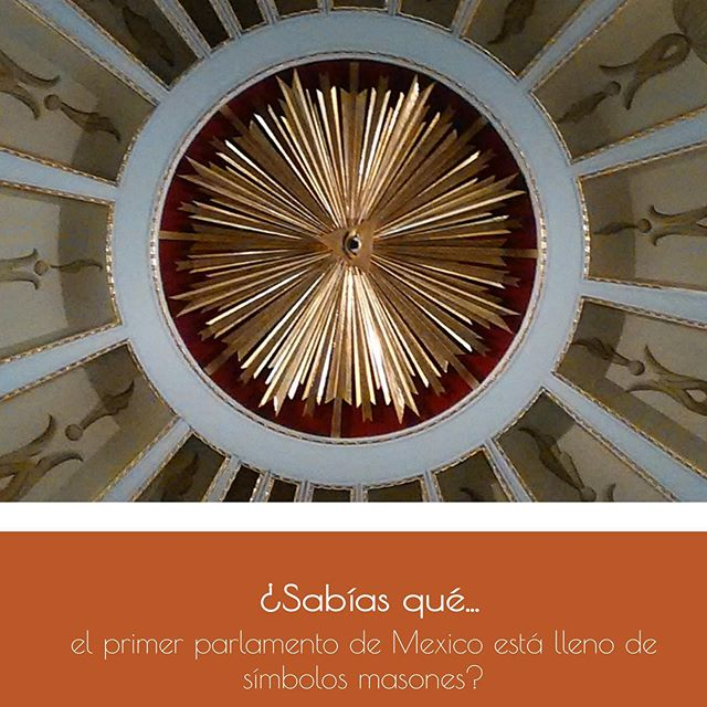 DID YOU KNOW THAT... Mexico's first parliament is full of Masonic symbols?  Versión en español 👉🏼 @nataliacabarga . Inside the National Palace is the old parliament that served as the Chamber of Deputies from 1829 until 1872, when it was destroyed by a fire. . When visiting this space you can see on the ceiling and in some corners of its decoration symbols of Freemasonry, which shows the importance that this lodge had in the political life of Mexico in the 19th century.  It was there that the Constitution of 1858 was sworn and where several presidential oaths and the promulgation of many important laws were carried out. . One hundred years after it was destroyed by a fire in 1872, this place was rebuilt thanks to a lithograph that the artist Pedro Gualdi had made before it was burnt down (image #5)  To visit this place and discover these Masonic symbols, admission is free and is from Tuesday to Sunday from 10:00-17:30.  #recorridosconhistoria @recorridosconhistoria #visitmexico #cdmx #quehacerencdmx #timeoutmexico #mexicotravel #culturamexico #mexicocity #palacionacional #visitmexico #masoneria #masonry