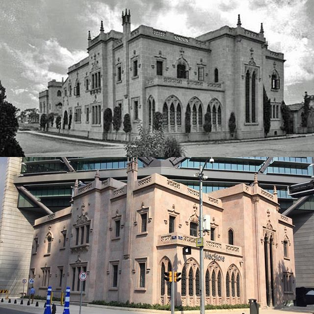"BEFORE AND AFTER Versión en español 👉🏼 @nataliacabarga  The house that is located at # 483 of the Paseo de la Reforma, and now a MacStore, was known as O'Hea-Austin as it was built from 1928-29 for Mr. Patrick A. O'Hea, of England, and his wife Eileen Austin, of San Antonio, Texas. The style of its architecture is Gothic-Jacobin English and was built by the same architects who made the Frontón México.  The L-shaped construction had 6 large rooms distributed on two levels, in addition to a Hall of various heights, terrace, gardens, balconies and an annex building with utility rooms and garage. Its facades were covered with pink quarry of Querétaro, and its interior presented decoration on ceilings and walls such as beams and ribbed vaults, which simulated the Gothic style.  In the 3rd and 4th image you can see the house towards the decade of the 30s.  At the death of Eileen Austin the house was sold in 1933 and from there it will be sold several times to different families, it will even be transformed into a bar, the ""Living"", and a restaurant. It will be until 2008 when it is bought and incorporated into the construction project of the Reforma Tower. For this construction the house will be moved several meters to the left while the tower is built and then the house will be returned to its original site to be attached to the Tower (in the 5th image you can see this). I invite you to visit it and see the details of its architecture, beyond the MacStore. You can also eat in one of the options of @cocina_abierta that is on the right side of the house, going down the escalators. . . #recorridosconhistoria @recorridosconhistoria  #visitmexico #cdmx #quehacerencdmx  #timeoutmexico #mexicotravel #culturamexico #mexicocity #actividadesculturales #tequieromexico #cdmxcultura #conocemexico #disfrutamexico #viajapormexico #travelmexico #ciudaddemexico #mexicocity #adictosalaciudad #CDMX #dondeir"