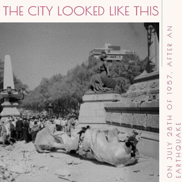 "THE CITY LOOKED LIKE THIS... on July 28th 1957 after an earthquake. Versión en español 👉 @nataliacabarga At 2:43 a.m., on July 28, 1957, a 7-degree earthquake Richter shook Mexico City. The stories of the time tell that people were still partying in the ballrooms and walking in cinemas and parks. Even some inhabitants of the Anzures neighborhood remember having heard, before the tremor, the Lions of the zoo roar desperately. People who were on Reforma Avenue told how the winged victory of the Independence Monument, better known as Angel, began to take off from its pedestal, ""wanting to fly"" as many said, falling to the floor. Its 7 tons collapsed on the pavement that morning of disaster and misfortune.  After a year it was repaired and repositioned, but the head was so damaged that it had to be rebuilt. The original, or what is left of it, can still be visited today at the entrance of the Historic Archive building of the City (Rep. Of Chile 8, Downtown)  URBAN LEGEND OF LOVE ... That early morning, between the disaster and the shock after the earthquake, the story of some people who claim to have seen the worker, named Jaime Contreras, found and read aloud a letter inside the angel's broken head, apparently written by someone from the foundry, about 1910, who hid his words of love there.  #recorridosconhistoria @recorridosconhistoria #angelindependencia #terremoto1957 #leyenda  #visitmexico #cdmx #quehacerencdmx  #timeoutmexico #mexicotravel #culturamexico #mexicocity #actividadesculturales #tequieromexico #cdmxcultura #conocemexico #disfrutamexico #viajapormexico #travelmexico #ciudaddemexico #mexicocity #adictosalaciudad #CDMX #dondeir"