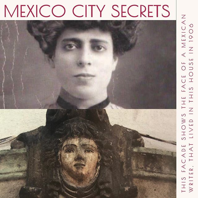 MEXICO CITY SECRETS 👉🏼Versión en español @nataliacabarga  There was a fashion, during the colony and the nineteenth century, to carve on the facades of the houses the faces of their owners or even miracles. Such was the case of the house of María Enriqueta Camarillo, a woman who was born in 1872 and who for her time stood out in letters and in recognition. This took time, since as a young man she had to use the pseudonym of Ivan Maszkowoski to publish in El Universal newspaper. When she married in 1898, with the historian Carlos Pereyra, the couple went to live at la Santa María la Ribera in a house where they carved on top of the windows her face, at 34 years of age. They lived in that house only from 1906-1910 because of the outbreak of the Revolution and diplomatic issues of her husband, who forced them to travel a lot during the following years. Currently this house belongs to the House of Culture of Santa María la Ribera and sadly during its remodeling lost much of the original house. Only one of its walls remains with two original masks of her face.  She, in addition to writing, was a concert pianist and even illustrated her own books. She wrote and collaborated for the poetic magazine La Mujer Mexicana, one of the last modern feminist magazines in Mexico. She also published in the Blue Magazine and in The Illustrated World. Upon leaving the country she continued her intellectual work and returned to Mexico in 1948, at 76 years of age. She lived in a house in her native Veracruz where she spent the rest of her days, until she died in oblivion in 1968. But when she went to visit Mexico City she still visited her old house. Sadly, over time, she was forgotten and even denied access to the new academies, causing her name to be lost in oblivion. That is why I dedicated this space to her today, a woman who, despite the time she lived in, managed to be recognized for her literary work and to express herself, despite living in a world ruled by men. Today you can find on the Internet some of her poems and writings. #recorridosconhistoria @recorridosconhistoria #poetry #mexico