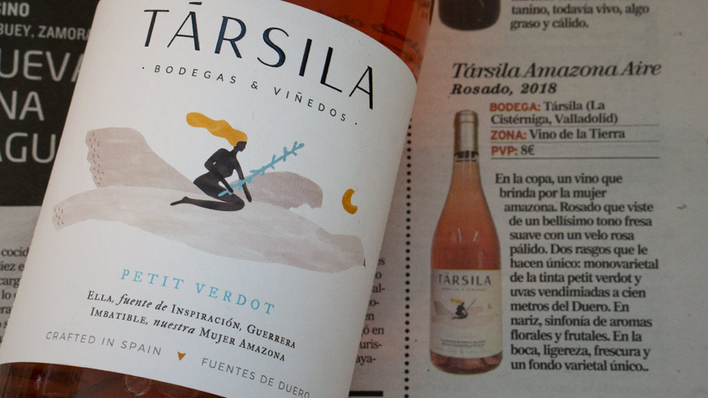 Társila Amazona Aire 100% Petit Verdot highlighted in the wine supplement of the Spanish newspaper El Mundo