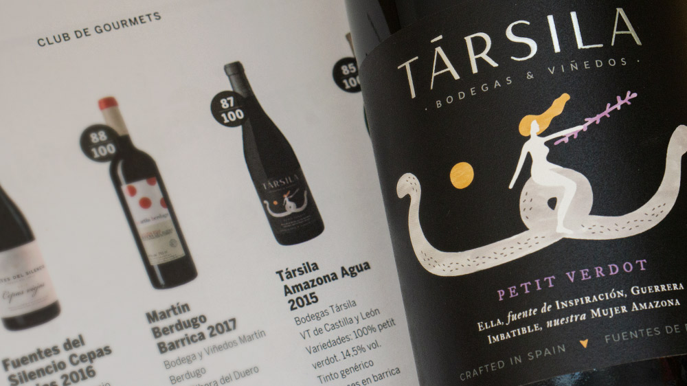 Társila Amazona Agua 2015, our red wine 100% Petit Verdot, highlighted by the magazine Gourmets in its Tasting of May of 2019.
