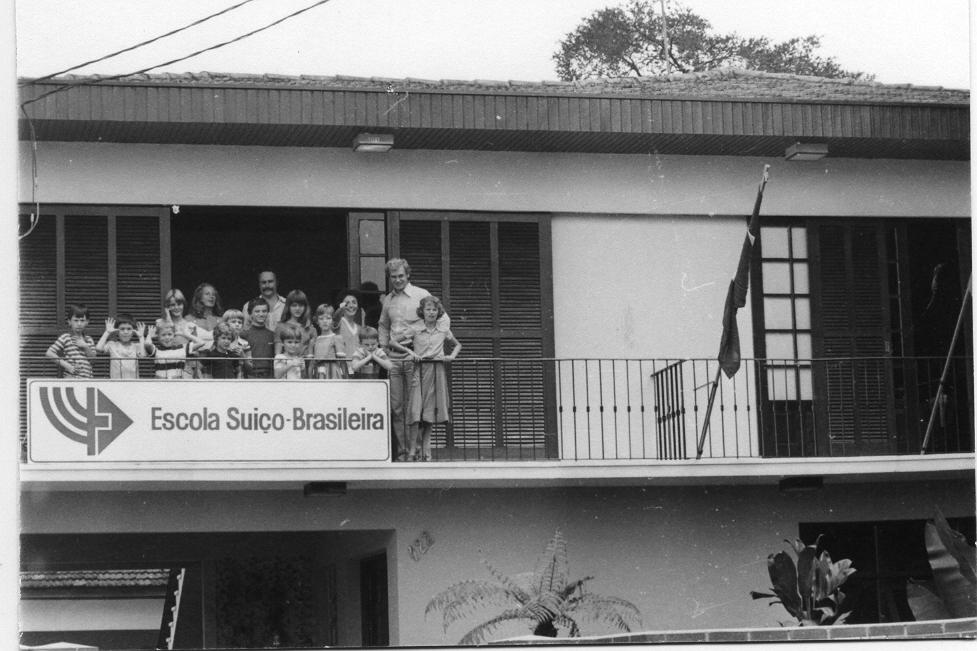 Fachada do Colégio Suíço-Brasileiro de Curitiba, 1980  Acervo Escola Suíço-Brasileira de Curitiba