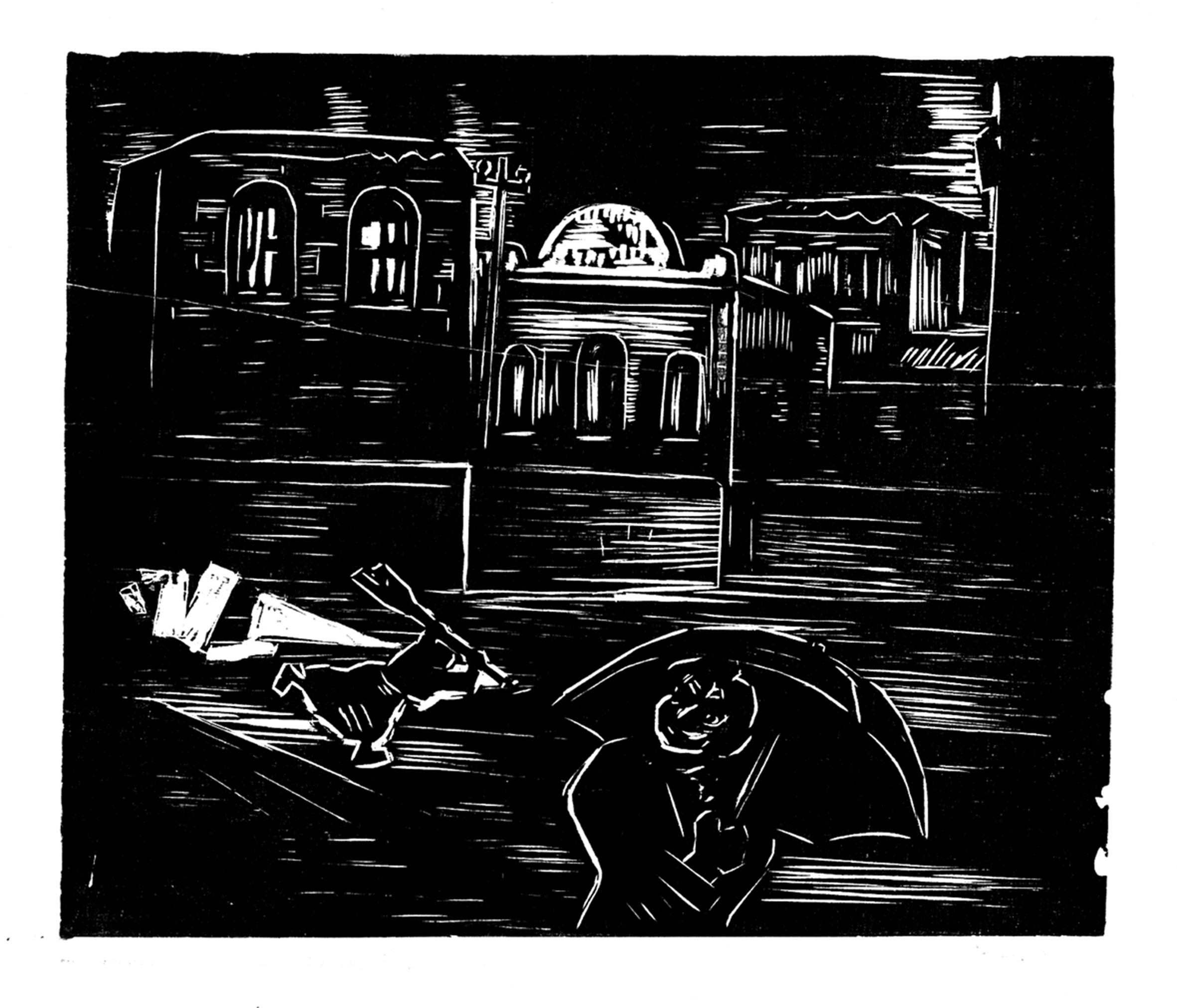 """Xilogravura """"A loucura varre as ruas"""", por Oswaldo Goeldi / Reprodução Pregnolato & Kusuki Acervo particular"""