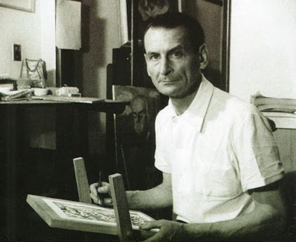 Oswaldo Goeldi em seu ateliê, no Rio de Janeiro, década de 1940 Imagem revistacontemporartes.blogspot.com.br