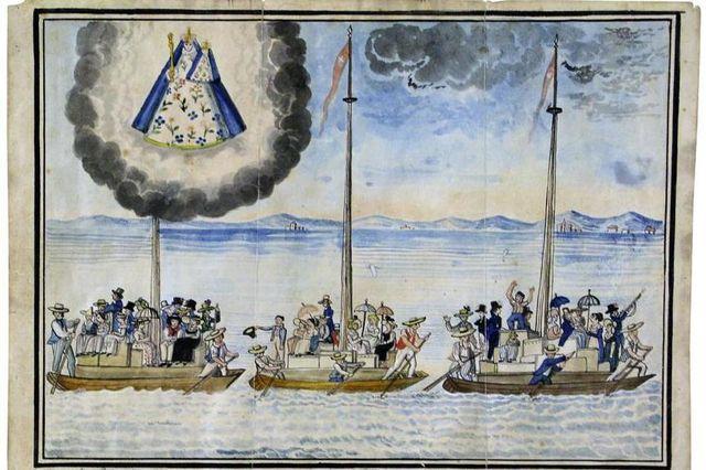 Pintura votiva suíça, representando a partida dos friburguenses no lago de Neuchâtel Imagem Brasil-agora.com