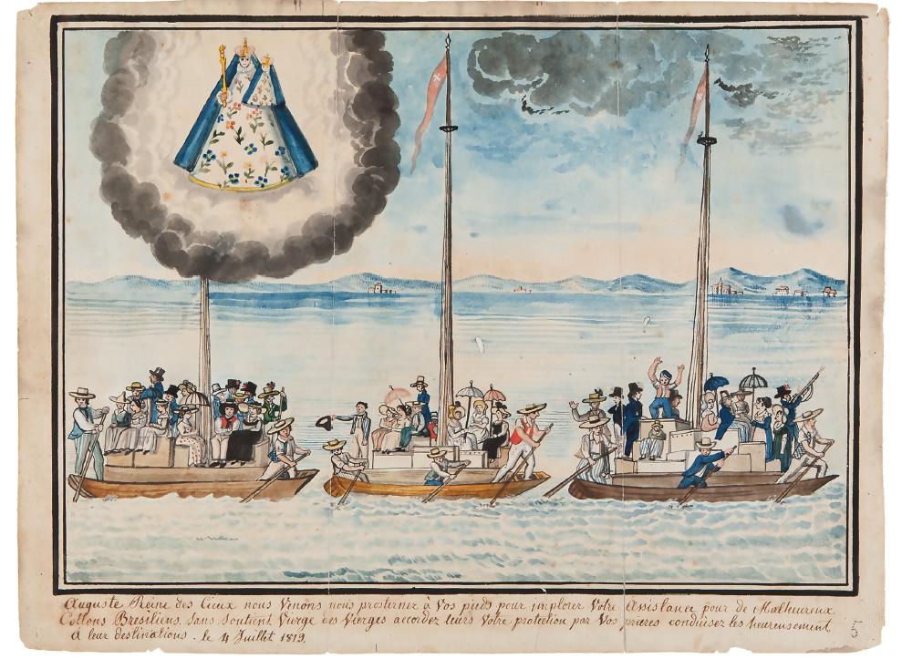 Pintura votiva suíça, representando a partida dos friburguenses no lago de Neuchâtel. Imagem gentilmente cedida pelo Museu de Arte e História de Friburgo, Suíça.